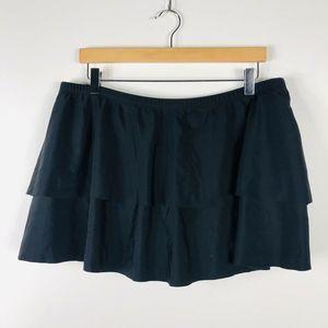 Women's Plus Size 22 Solid Black Tiered Swim Skirt